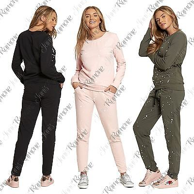 New Womens Paint Splat Luxe Lounge Wear Set Sweatshirt Joggers Jogsuit Tracksuit