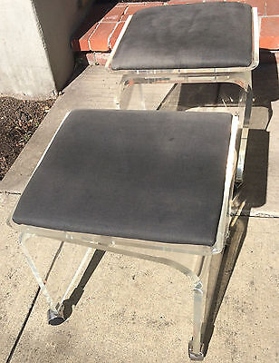 VINTAGE LUCITE Rolling VANITY BENCH / STOOL W/CASTERS - Swivel Top GVC