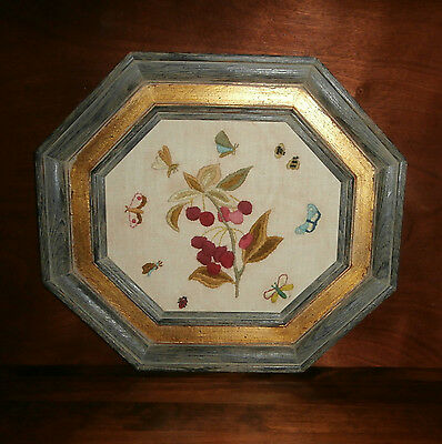"""Flowers Butterflies Bugs Crewel Embroidery Finished & Framed 19"""" x 17"""" Octagon"""