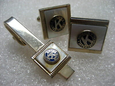 Cufflinks and Tie Pin of KIWANIS,mother of pearl