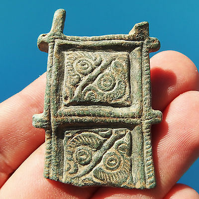 Authentic Antique Visigothic Bronze Belt Plate Ancient Spanish 5-8Th Cent Buckle