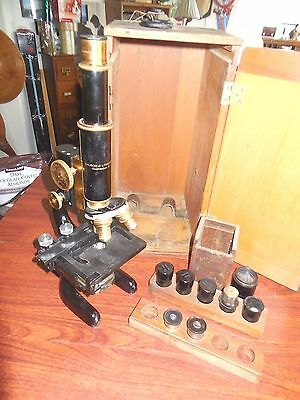 Vintage Antique Microscope 1915 BAUSCH LOMB with Wood Case and Lens