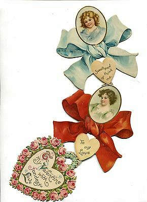 Vintage Antique Valentine Card 3 part hanging card die-cut Bows Hearts