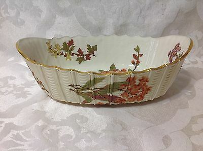 Ea 1900s Ant Royal Worcester Eng Oval Sxalloped Bowl w/Beautiful Floral Design