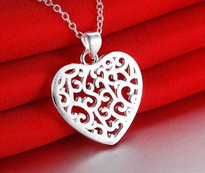 925 Sterling Silver Heart Pendant Charm Necklace Link Chain Stunning Jewellery