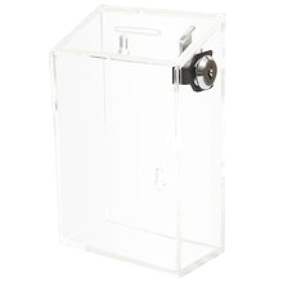 Donation Box Charity Tip Container Acrylic Store Display Lock 2 Keys Coin Clear
