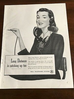 1946 VINTAGE 10X12 PRINT Ad BELL TELEPHONE SYSTEM AT&T FEMALE OPERATOR SMILING