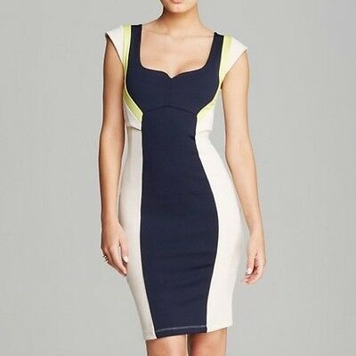 f0aa36bc275 French Connection 'Monroe' ~ Sand & Navy Colorblock Bodycon Dress 0 NEW $188