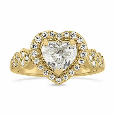 Ornate Diamond Halo Ring 18 Kt Yellow Gold Heart Cut 1.59 Ct Women Appraised