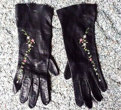 Vintage Womens Black Leather Gloves 7 Gant Jonquet with Embroidery