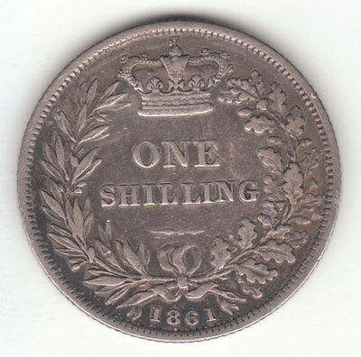 1861 Great Britain Queen Victoria Silver Shilling.