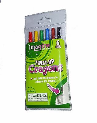 Imagine Twist-Up Crayons, Crayons Assorted Colors (6 Pack) - New in Package