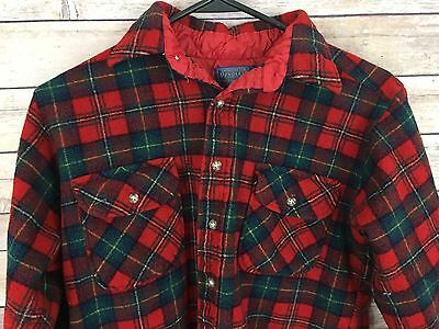 Pendleton Boys Girls Flannel Shirt Wool Made In USA Sz L Red Green Plaid