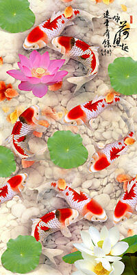 Home Art wall Decor print Animals Feng Shui Fish Koi oil painting on canvas 121