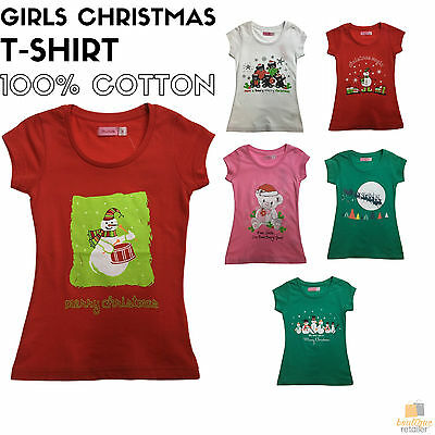 GIRLS CHRISTMAS T Shirt Children's Santa Merry Xmas Party Child Gift 100% COTTON