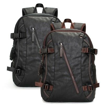 AU Men's Vintage Leather Backpack Rucksack Travel Satchel Laptop School Bag New