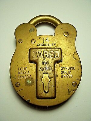 Big Brass Antique Old English Admiralty Jared Padlock #14 Lock No Key