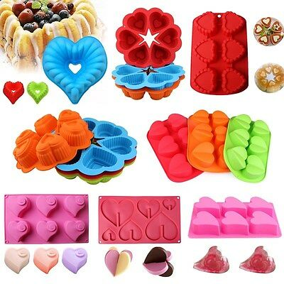 Heart Shape Silicone Cake Mold Pan Muffin Chocolate Pastry Baking Tray Mould