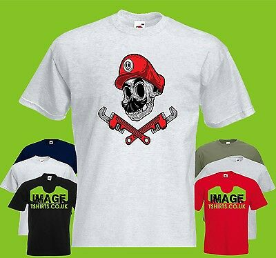 Mario Skull Mens PRINTED T-SHIRT Plumber Gaming Crossbones Funny Wrenches Game