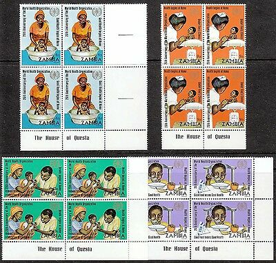 Zambia 1973 WHO incl scarce 4n Mother Washing Baby Imprint Blocks very fine MNH