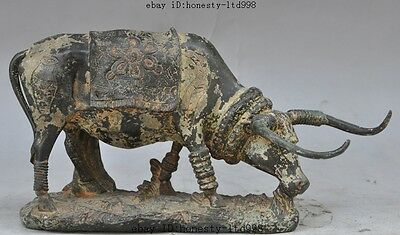 "10""old china bronze fengshui animal Oxen Bull plow cattle Scalper Grazing statue"