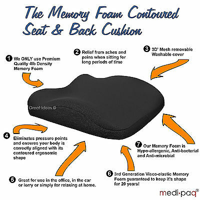 Desk chair/car seat posture cushion pad Lumbar position support Back pain & ache