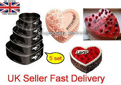 Set of 5 non-Stick Heart Shaped Cake Tins Springfoam Cake Baking Trays