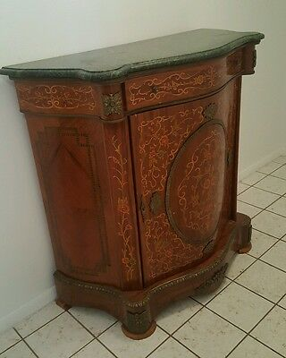 Half Round Marble Top Cabinet with Wood Inlay LOCAL PICKUP ONLY