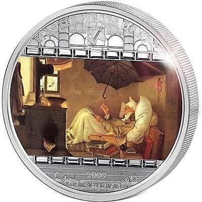2009 Cook Islands 20$ Masterpieces of Art Spitzweg The Poor Poet 3oz Silver Coin