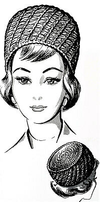 P-114 Vintage PILLBOX HAT Pattern to Crochet (reproduction)