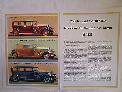 1933 Packard Sedan and Convertible Coupe Two Page Original Print Ad from 1933