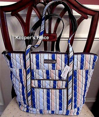 Longaberger Large Quilted Carry On Bag Cabana Blue Stripe Faux Leather Trim New