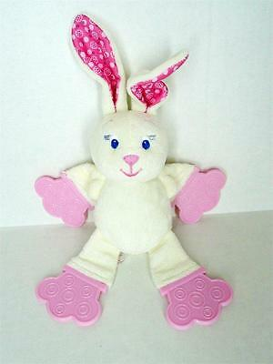 Bright Starts White Pink Baby Bunny Rabbit Plush Rattle Teether Soft Toy