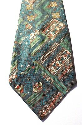 1970s KIPPER NECK TIE Green, Blue, Gold, Multi Patterned Polyester  FREE P&P