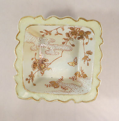 Antique Japanese Kutani Yokohama Porcelain Bowl Cherry Blossoms Flowers Japan