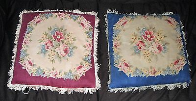 (2) Vintage Victorian Tapestry Pillows Floral Rose Fringed 14""