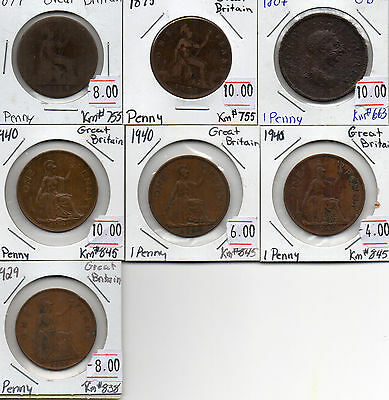 Lot of 7 Great Britian Large Penny's 1807,1875,1879,1929,(3x) 1940