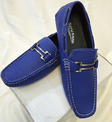 1227a363ca0 MENS GIOVANNI SHOES Loafer Fashion Italian Casual Slip-On FAUX LEATHER BLUE  -45