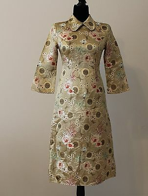 NEW Chinese Women embroidered Flower Cheongsam Cheong-Sam Dress_Gold_0~2 PXS