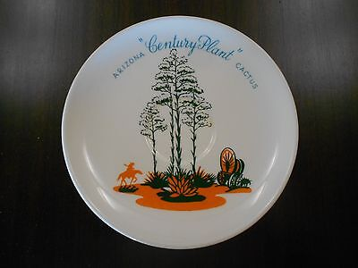 """Vintage BLAKELY Oil and Gas CENTURY PLANT Cactus POTTERY Saucer 6 1/4"""" Plate"""