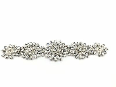 Hand Made Gorgeous Rhinestone Crystal Diamante Bridal Wedding Dress Belt Motif