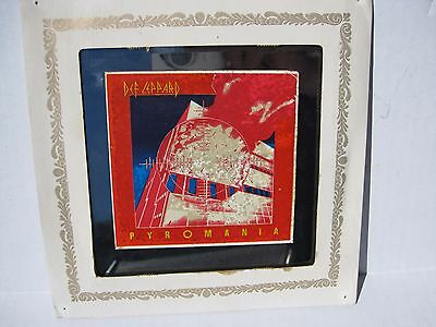 1970's-80's DEF LEPPARD CARNIVAL PRIZE MIRROR PYROMANIA WITH Paper FRAME