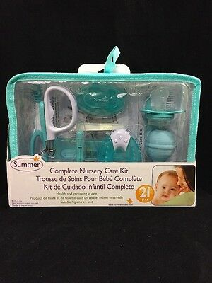 Summer Infant Nursery Care Kit Teal/White Baby Grooming Accessories Kit, 20 Pc