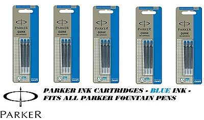 PARKER quink ink Cartridges refills Genuine Fit all parker fountain pens - BLUE