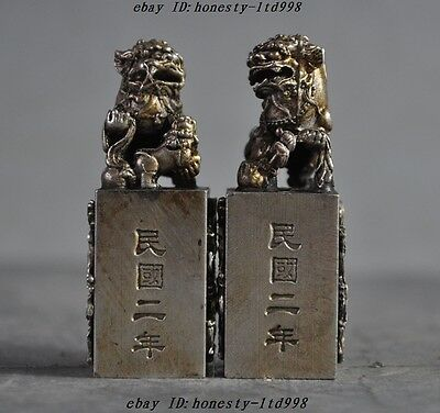 Old Chinese Fengshui Tibet Silver Dragon Foo Dog Lion Statue Seal Stamp Pair