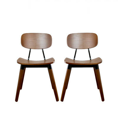 2x French Industrial Dinning Chair Walnut| Scandinavian Vintage Plywood Brown