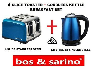 4 Slice BLUE Toaster & 1.8 L BLUE Cordless Kettle Both Stainless Steel Perfect