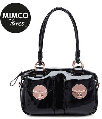 Mimco Turnlock Large Hand Bag Patent Leather Black LARGE Handbag AUTHENTIC new