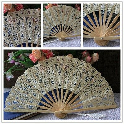 Vintage hand fans Chinese Lace bamboo fan Hand Held Dance Wedding Flower Pattern