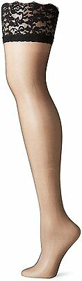 Berkshire Womens Plus-Size Shimmers Ultra Sheer Lace Top Thigh High Stockings 1